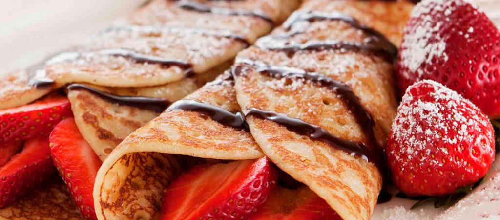 sirope de chocolate para crepes con fruta merienda